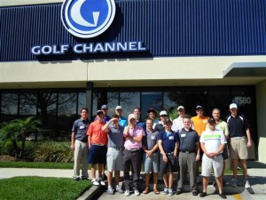 A group of students stand in front of Golf Channel studios