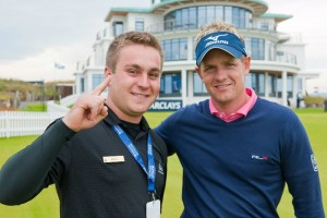 4th-year student James Skrypec (left) and then world #1 Ranked golfer Luke Donald at his 2011 co-op at Castle Stuart Golf Links, Scotland